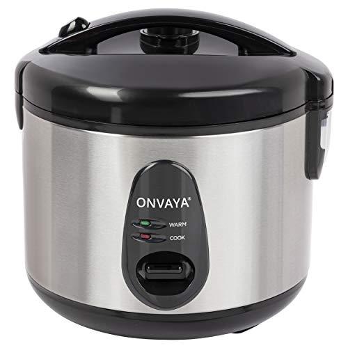 ONVAYA® Arrocera de 1,2 litros de acero inoxidable, incluye accesorio para cocinar al vapor, doble tapa, función de mantenimiento en caliente, revestimiento antiadherente, para hasta 6 personas