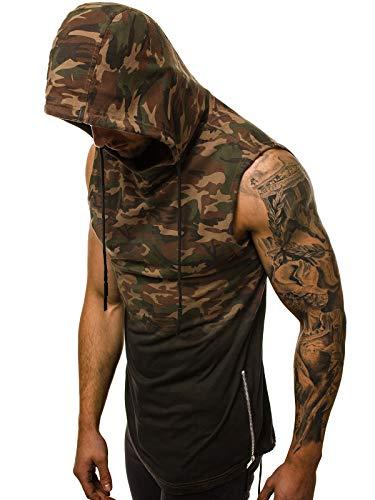 OZONEE Herren Tank Top Tanktop Kapuze Tankshirt Ärmellos Bodybuilding Shirt Unterhemd T-Shirt Tshirt Tee Muskelshirt Achselshirt Trägershirt Ärmellose Training MJ/308Y BRAUN-CAMO M