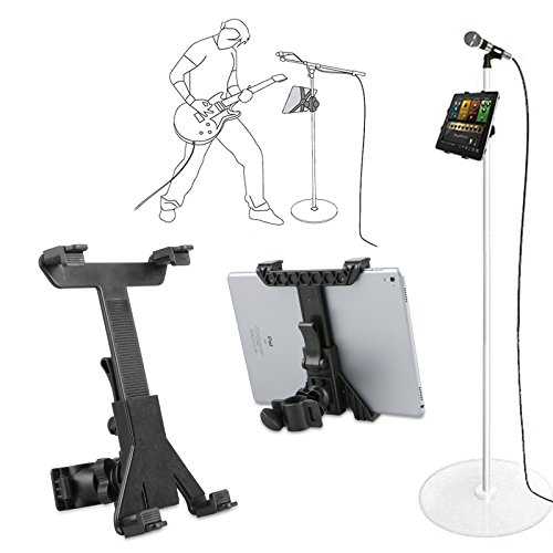 LinkStyle Music Microphone Stand Tablet Holder Mount, 360 Degree Swivel Adjust Holder for 7-10.8 Tablet iPad Air 5 4 3 2 SamsungTab(iPad & Stand is not Included)