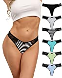 ADOVAKKER Womens Thong Cotton Sexy Lace T Back Panties Underwear Pack of 6Multicolored B-XL