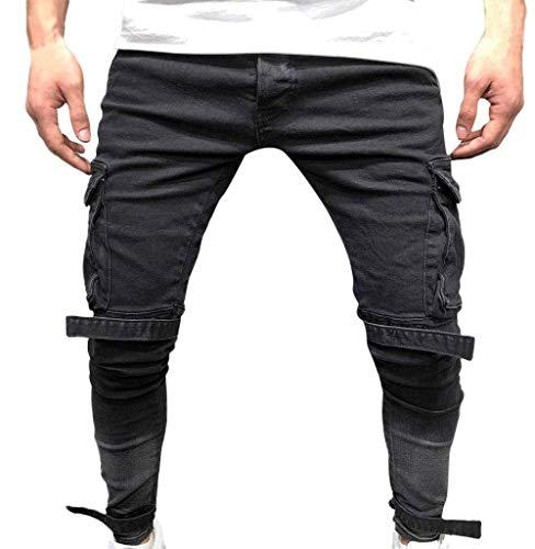 Targogo Pantalones de mezclilla elásticos para hombre, de ajuste delgado, color negro, pantalones vaqueros de moda, pantalones de hombre, pantalones de sudor, pantalones de deporte, negro, 40 W