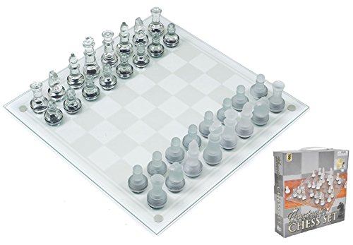 Play Kreative Glass Chess Game Set - Kids Mini 7.5' Glass Chess Game Great Gift for Children
