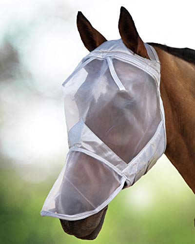 Harrison Howard CareMaster Maschera Anti-Mosche per Cavallo UV Protezione con para Naso Argento (XL; Extra Full)