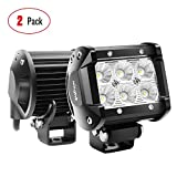 Nilight 60001F-B Bar 2PCS 18w 4' Flood Fog Road Boat Driving Led Work Light SUV Jeep Lamp, 2 Years Warranty