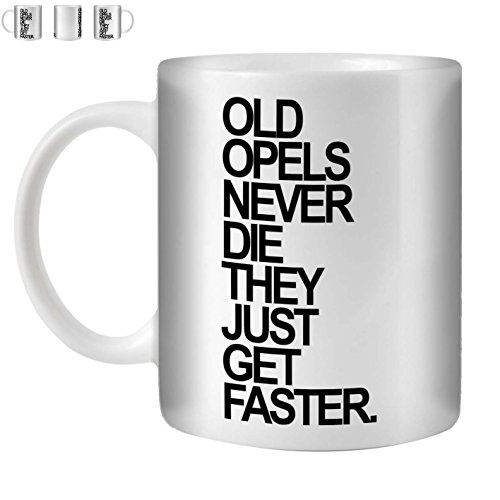 Stuff4 Tee/Kaffee Becher 350ml/Opel/Black Text/Alte Autos/Weißkeramik/ST10