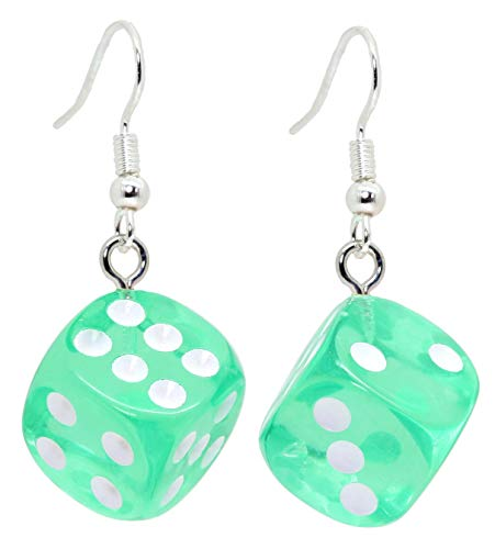 Bluebubble LUCKY DICE Neon Dangle Earrings Gift Boxed (Magician Mint Green)