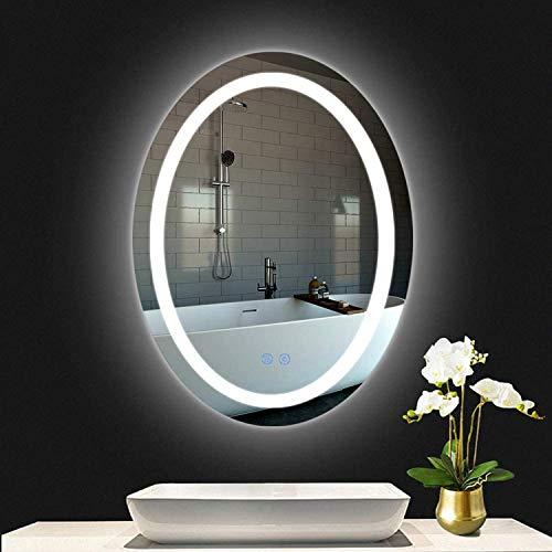 LUVODI LED Badspegel mit Bleuchtung 60 x 80cm Anti-Nebel BadezimmerLichtspiegel Ellipse Design Wandspiegel Wasserdicht IP44 energiesparend