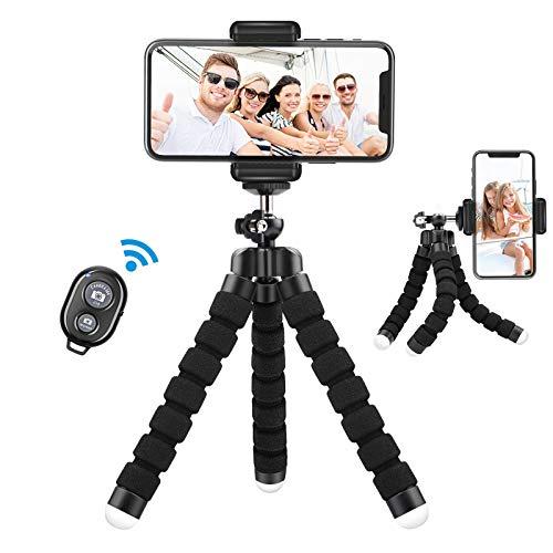 Lidasen Treppiede Smartphone, 360°Rotazione Cavalletto per Smartphone con Telecomando Bluetooth, Trepiedi Portatile per Cellulari Compatibile iPhone Samsung Huawei -Nero