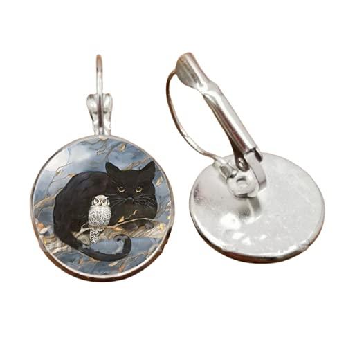 Nuevo gato lindo cristal y luna gato negro y cuento de hadas patrón redondo cristal hecho a mano pendientes regalo