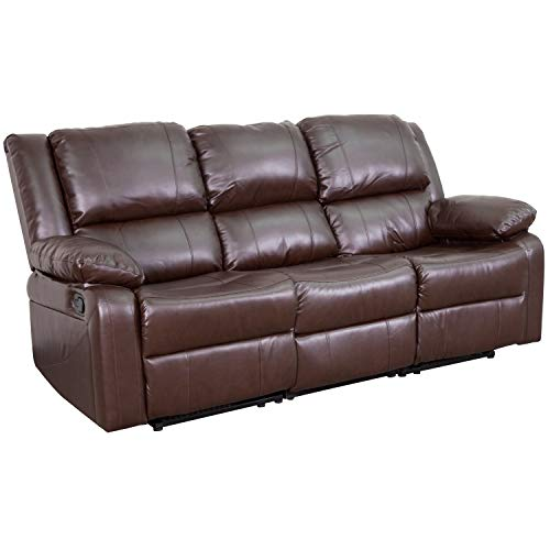 Flash Furniture Harmony Series Brown LeatherSoft Sofa with Two Built-In Recliners