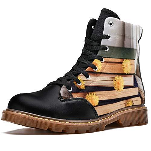 TIZORAX Botas de invierno para mujer Libros y Daisy On The Desk Impresiones de alta parte superior con cordones clásicos de lona zapatos escolares, color Multicolor, talla 41 EU