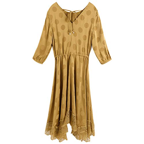 BINGQZ Cocktail Jurken Gele jurk vroeg voorjaar vrouwen stiksels kant lange rok dames temperament taille afslanken rok