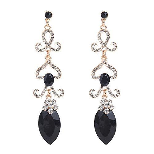 ZRDMN oorknopjes dangler oordrop sieraden voor vrouwen Europese en Amerikaanse mode Bloemen met boorwater te druppelen lange zwarte sieraden oorbellen