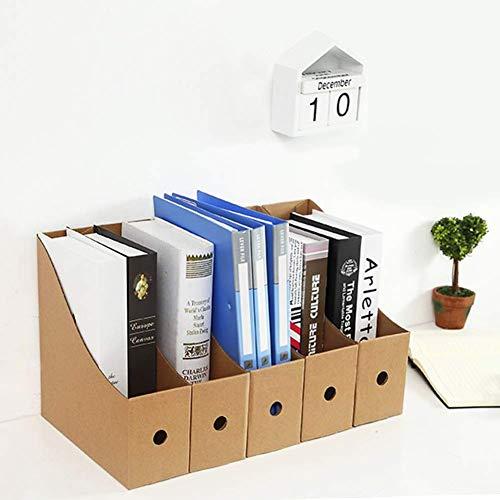 Paquete de 5 revistas de escritorio, organizador de archivos de escritorio, caja de almacenamiento de papelería, color Kraft,5 Pack