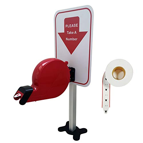 Take-A-Number System Ticket Dispenser with Counter Stand and 1 Roll Paper 2 Digits 2000 Tickets for Queue Call System
