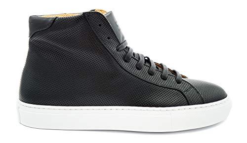 "Sneekr italienische Premium Sneaker ""Milano High"" inkl. Schuhanzieher - Schwarze Damen Schuhe aus Echtleder - Atmungsaktive Leder Damenschuhe - Hohe Lederschuhe - Made in Italy - Schwarz - 39"