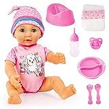 Bayer Design, Poupon Bébé, Lisa Newborn Baby, 40cm, poupée à Corps Dur avec Accessoires et Yeux endormis, 94073AD, Rose avec Les Moutons