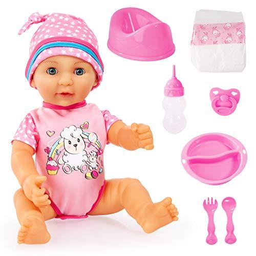 Bayer Design 94073AD Puppe, Lisa Newborn Baby,40cm, Hartkörperpuppe mit Zubehör und Schlafaugen, pink mit Schafmotiv