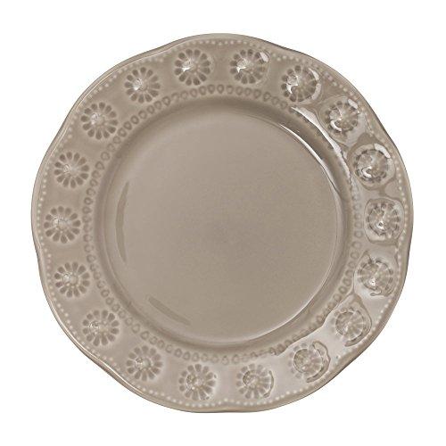 Table Passion - Assiette à dessert Flora gris 20 cm (lot de 6)