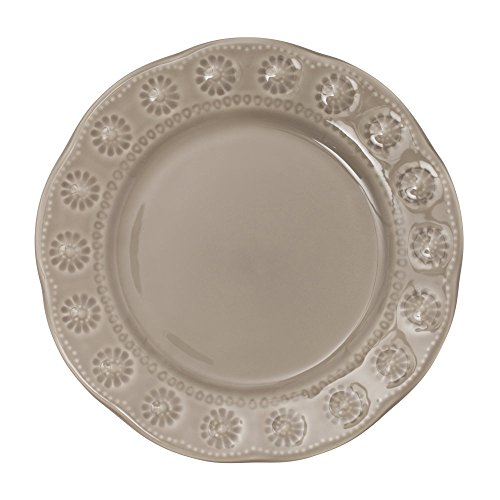 Table Passion - assiette à dessert flora gris 20 cm (lot de 6)