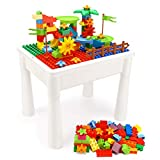INKPOT Kids 5-in-1 Activity Table Set- Learning Water Table with 85 Pcs Marble Run Building Blocks Compatible Classic Large Bricks,Sand Play Table with Storage for Toddler Age 1 2 3 Gift Toy
