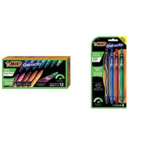 BIC Gel-Ocity Quick Dry Gel Pens, Medium Point Retractable Gel Pen (0.7mm), Assorted Colors, 12-Count & Gel-Ocity Quick Dry Gel Pens, Medium Point Retractable Gel Pen (0.7mm), Assorted Colors, 4-Count
