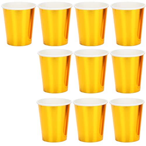 Denkerm Vaso de Papel de Color, Vasos de Papel Desechables adecuados para Uso en Fiestas, etc.(Oro)