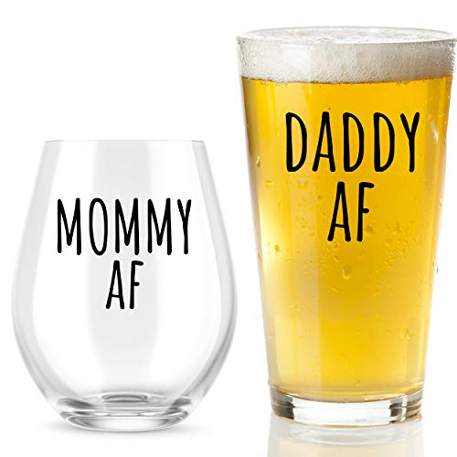 Mommy AF and Daddy AF Beer and Wine Glass Gift Set - Funny Gifts for New Parents - Mom and Dad Gift for Baby Shower, Birthdays, Anniversaries, Christmas, hanukkah, and Other Special Occasions