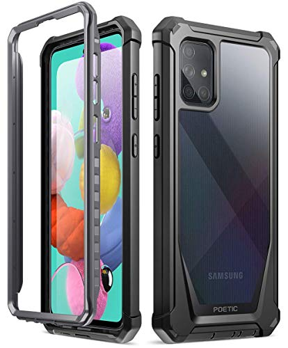 Poetic Guardian Series for Samsung Galaxy A51 Case, [NOT FIT Galaxy A51 5G Version] Full-Body Hybrid Shockproof Bumper Cover with Built-in-Screen Protector, Black/Clear