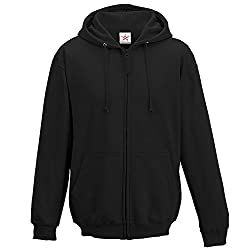 """320 GSM quality durable zip hoodies sizes XS (36/37""""), S(38""""), M(40""""), L(42""""), XL(44""""), XXL (46"""") Durable plain black full zip hoody Warm PLAIN conceal zip up hoodie comfortable to wear Nice fitting ideal for casual wear mens or ladies zipper hoody"""