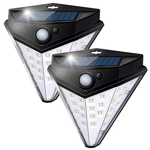 Nacinic Solarlampen für Außen mit Bewegungsmelder 2200mAh Garten Solarleuchten 270°Superhelle,32 LED Solar Wandleuchte Wasserdichte 3 Modi 2 Stück