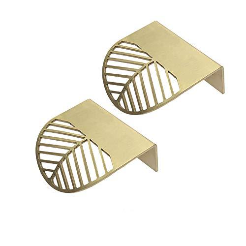 (2 stuks) Moderne, onbelangrijke koperen gouden greep-blad onzichtbare handgreep-kapstok-garderobe-deurgreep-vak-greep 12mm