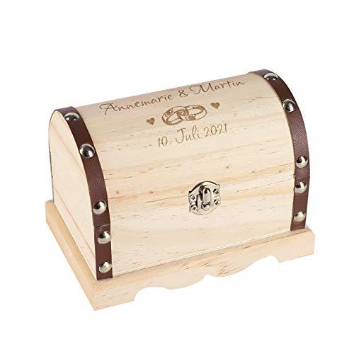 Herz & Heim® Personalisiertes Hochzeitsgeschenk Schatztruhe mit Gravur in verschiedenen Größen Eheringe, ca. 20 cm x 14,5 cm x 12,5 cm (B/H/T)