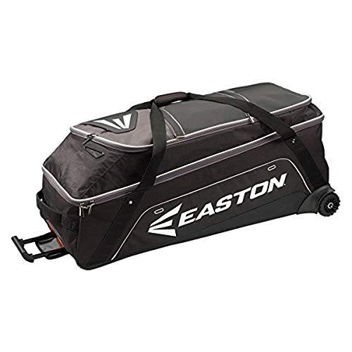 EASTON E900G Bat & Equipment Wheeled Bag, Black, 15-20 Bat Compartment, Vented and Expandable Main Compartment, Telescope Handle, 1 Felt Lined & 2 Valuables Pockets