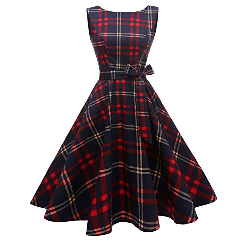 Hanpceirs Women's Boatneck Sleeveless Swing Vintage 1950s Cocktail Dress Redplaid 3X