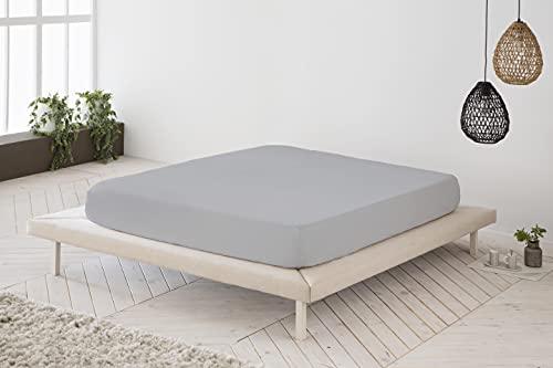 Sábana Bajera Ajustable Gris 100% algodón Cama de 105 cm