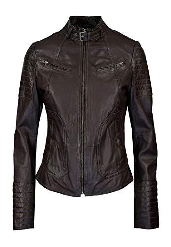 COCO BLACK LABEL since1986 Damen Lederjacke Tanja mit Stehkragen und Modernen Steppungen, Farbe:Aubergine, Größe:40