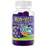 ✅ RED BLOOD CELLS - These delicious supplement gummies contain 10mg of Iron (as ferrous fumarate), 40mg of Vitamin C, 2mcg of Vitamin B12 and 100mcg of Folic Acid. These essential vitamins and minerals are important for red blood cell formation and i...