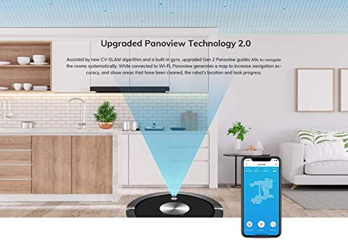 ILIFE A9s Robotic Vacuum Cleaner, Dry & Wet, Mapping, Wi-Fi Connected, Cellular Dustbin, Strong Suction, 2-in-1 Roller Brush, Self-Charging, Slim,Quiet, with Water Tank & Virtual Wall