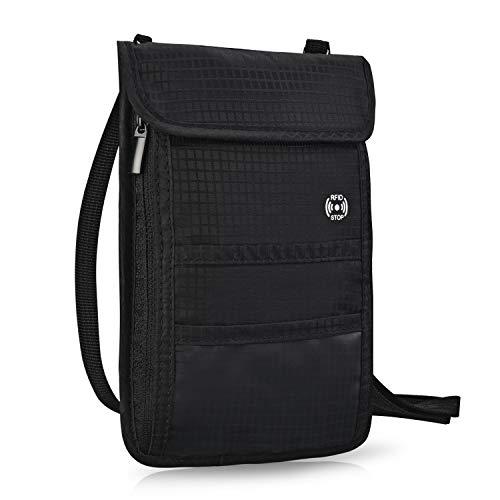 Brusttasche Reisepass Brustbeutel mit RFID-Schutz Wasserfeste Brusttasche für maximale Sicherheit für Smartphone und Reise-Dokumente - Leichte Halsgeldbörse zum Umhängen für Unisex