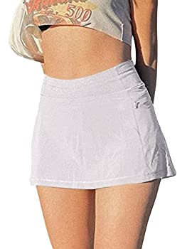 MISSACTIVER Women's Sexy Y2K High Waist Micro Skirt Punk Style 90S E-Girl A-line Skirt Lining Patchwork Skorts  Small White