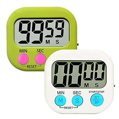 Kitchen Timer Digital Timer for Teachers Kids Cooking with Magnetic + ON/Off Switch + Count Up Countdown, Stopwatch Timer Stand / Hook, Cooking Timer with Simple Operation, 2 Pack