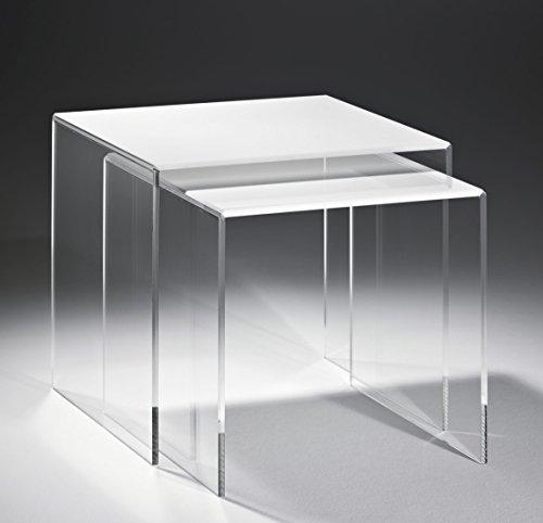 HOWE-Deko Design due tavolini impilabili in vetro acrilico di alta qualità,transparente/bianco, 40 x 33 cm, A 36 cm e 33 x 33 cm, A 33 cm, spessore di acrilico 8 mm