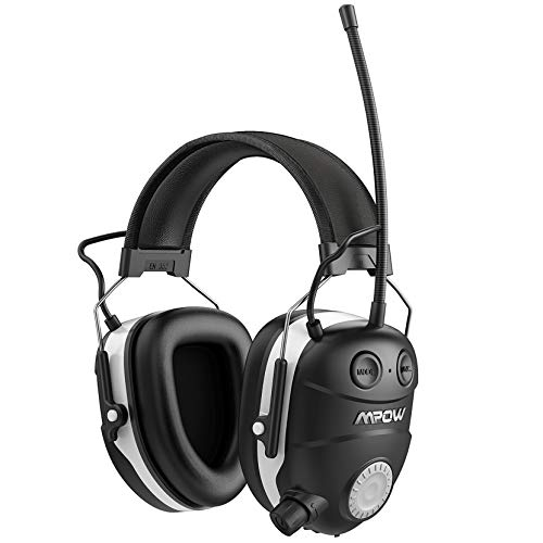 Mpow AM/FM Radio Hearing Protector, Ear Protection with Bluetooth Technology, NRR 29dB, Comfortable Noise Reduction Safety Ear Muffs for Lawn Mowing, Landscaping,Snowblowing(Carrying Bag Included)