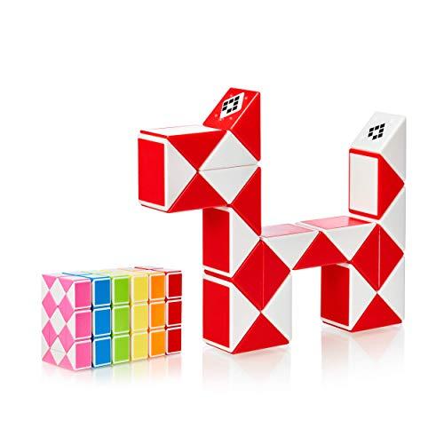 CUBIDI® Magic Snake mit 24 Blöcke - Knobelspiele für Kinder und Erwachsene - ideal als Mitgebsel Kindergeburtstag oder Kindergeburtstag Gastgeschenke oder kleine Geschenke für Kinder (Rot)
