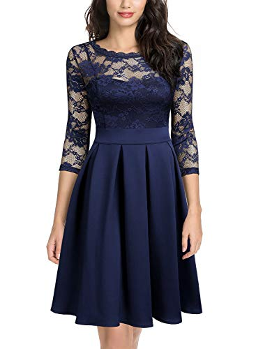 MIUSOL Damen Elegant Cocktailkleid Spitzen 3/4 Arm Vintage Kleid Brautjungfer 50er Jahr Abendkleid Navy Blau S