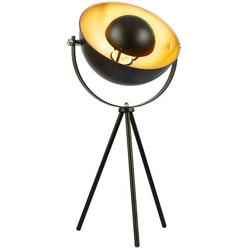 Jago® Tischlampe mit Stativ - EEK A++ bis E, H 135cm, schwenkbar, 60W, E27, Schwarz-Gold - Tripod Tischleuchte, Nachttischlampe, Schreibtischlampe, im Retro Vintage Design für Wohnzimmer, Schlafzimmer