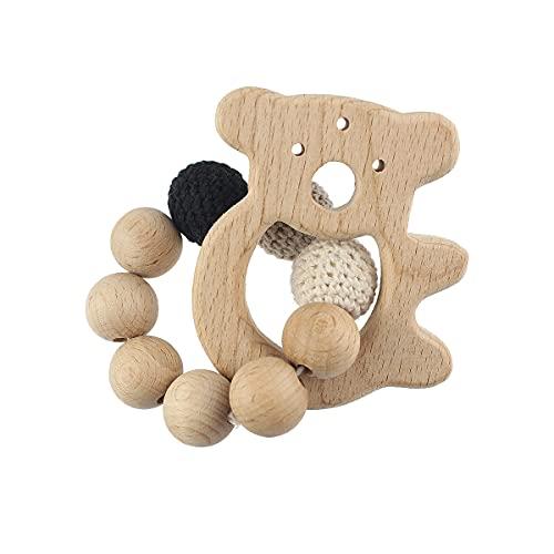 Pulsera de mordedor de bebé sonajero madera anillas madera mordedor Koala de dentición Sonajero de madera para bebé Cuentas de ganchillo Juguete de...