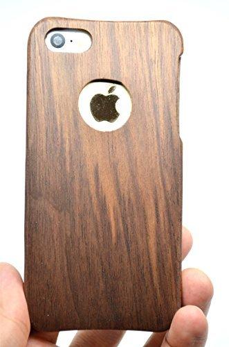 RoseFlower® Holz Schutzhülle für iPhone SE/iPhone 5S / iPhone 5 (10,2 cm (4 Zoll) - Walnuss mit Kreis Handyhülle - Natürliche Handgemachte Holzhülle Hülle Handytasche Handy Case Cover
