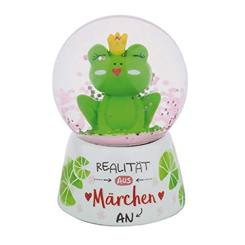 Die Geschenkewelt Gruss und Co 46172 Traumkugel mit Frosch und Spruch am Sockel Realität aus Märchen rosa Glitter Schneekugel, Polyresin, Glas, Mehrfarbig, Höhe ca. 6,5 cm